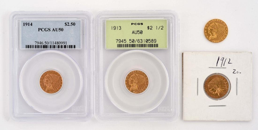 Lot Of 4: $2-1/2 Gold Indian Coins.