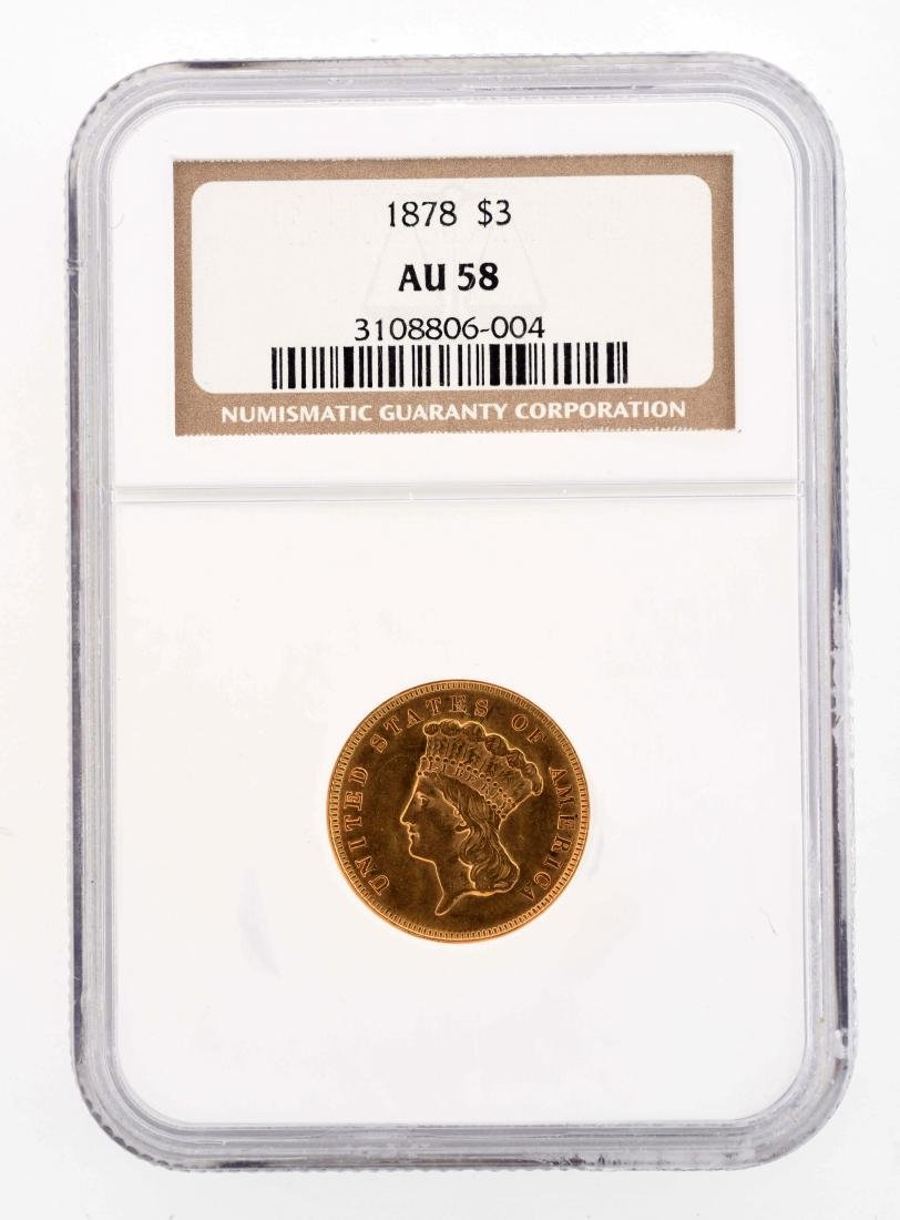 1878 $3 Gold Coin.