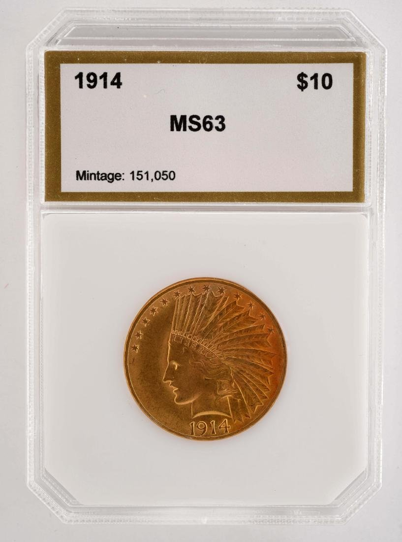 1914 $10 Gold Indian Coin.