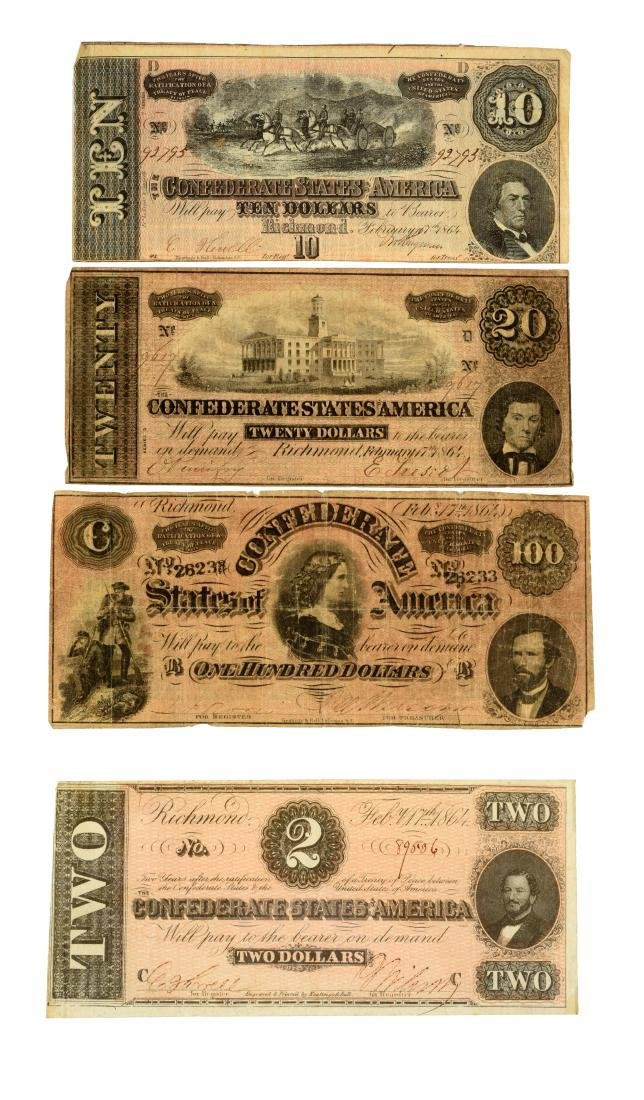 Lot of 4: Confederate Notes.