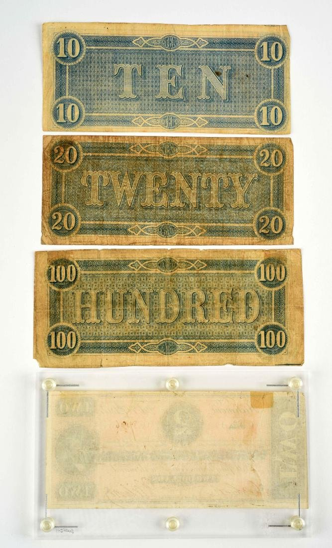 Lot of 4: Confederate Notes. - 2