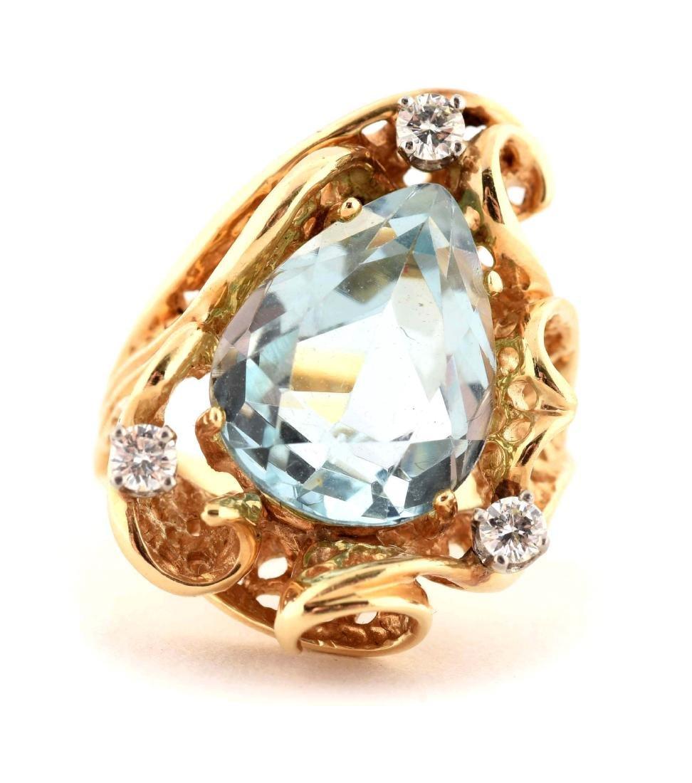14K Yellow Gold Diamond Aquamarine Ring.