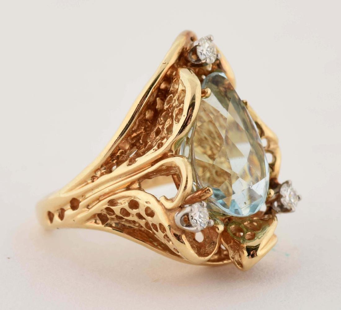 14K Yellow Gold Diamond Aquamarine Ring. - 2