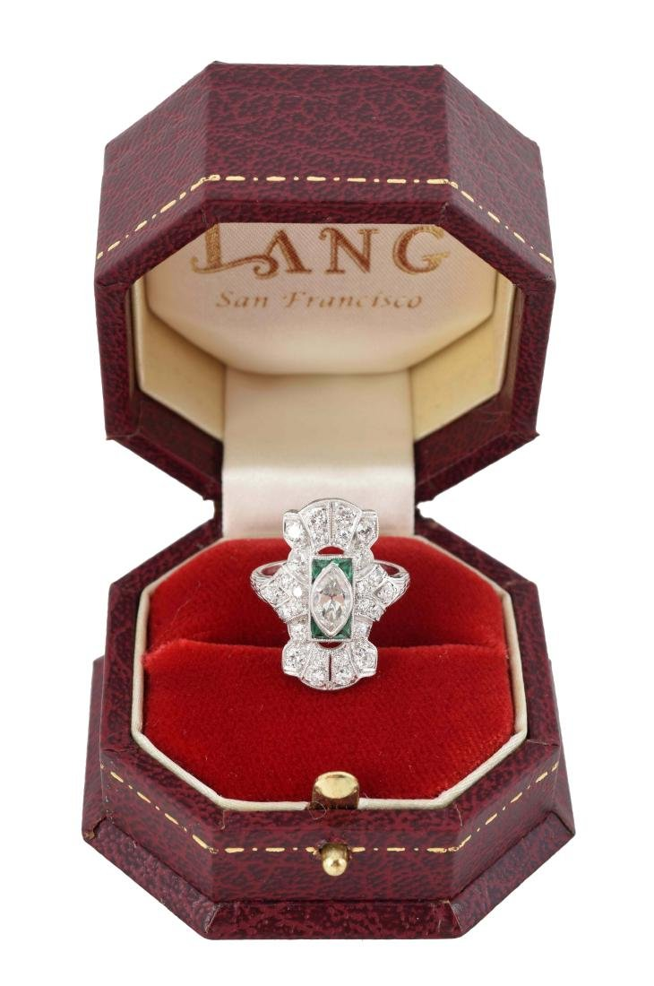 18K White Gold Antique Diamond Ring.