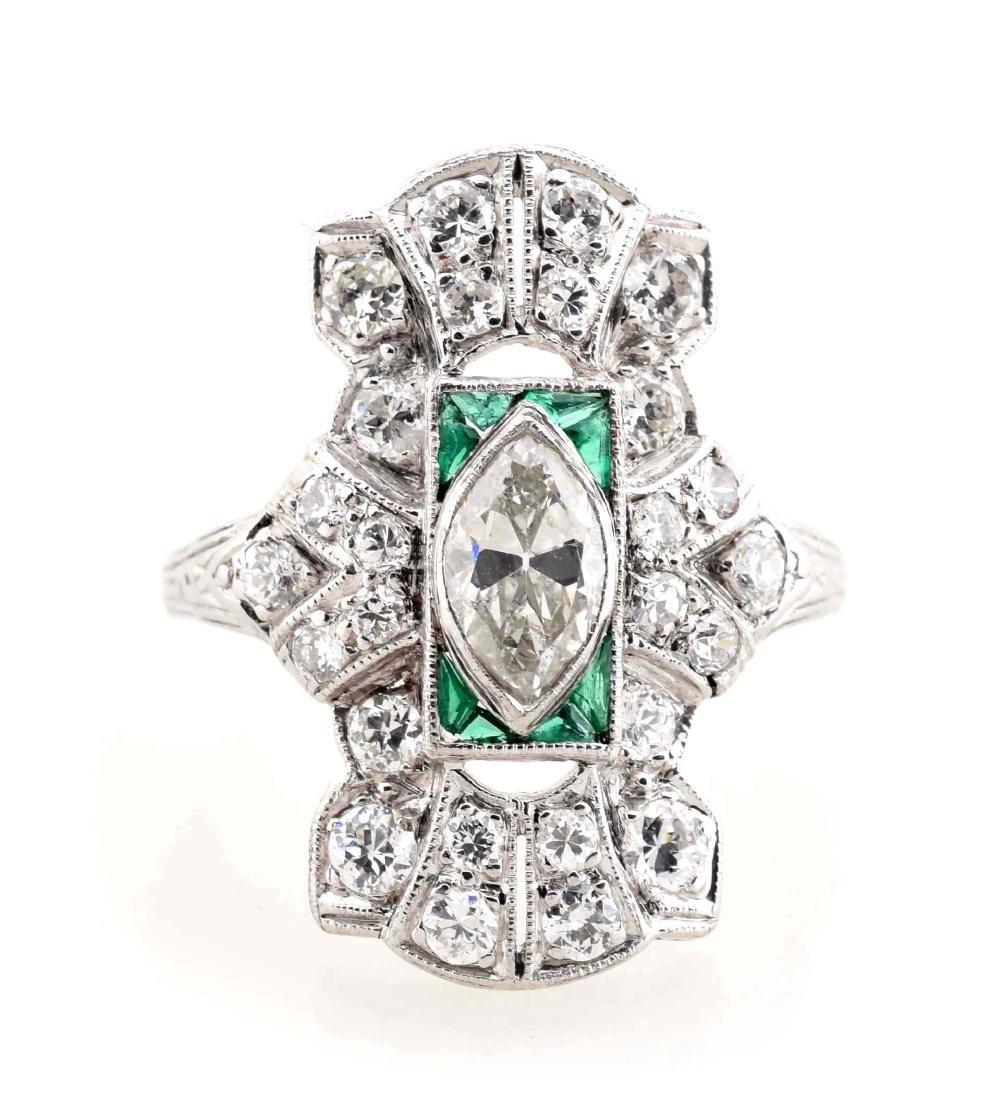 18K White Gold Antique Diamond Ring. - 2