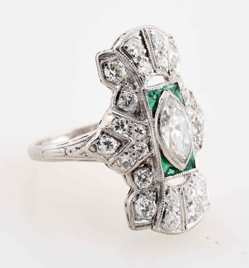 18K White Gold Antique Diamond Ring. - 3