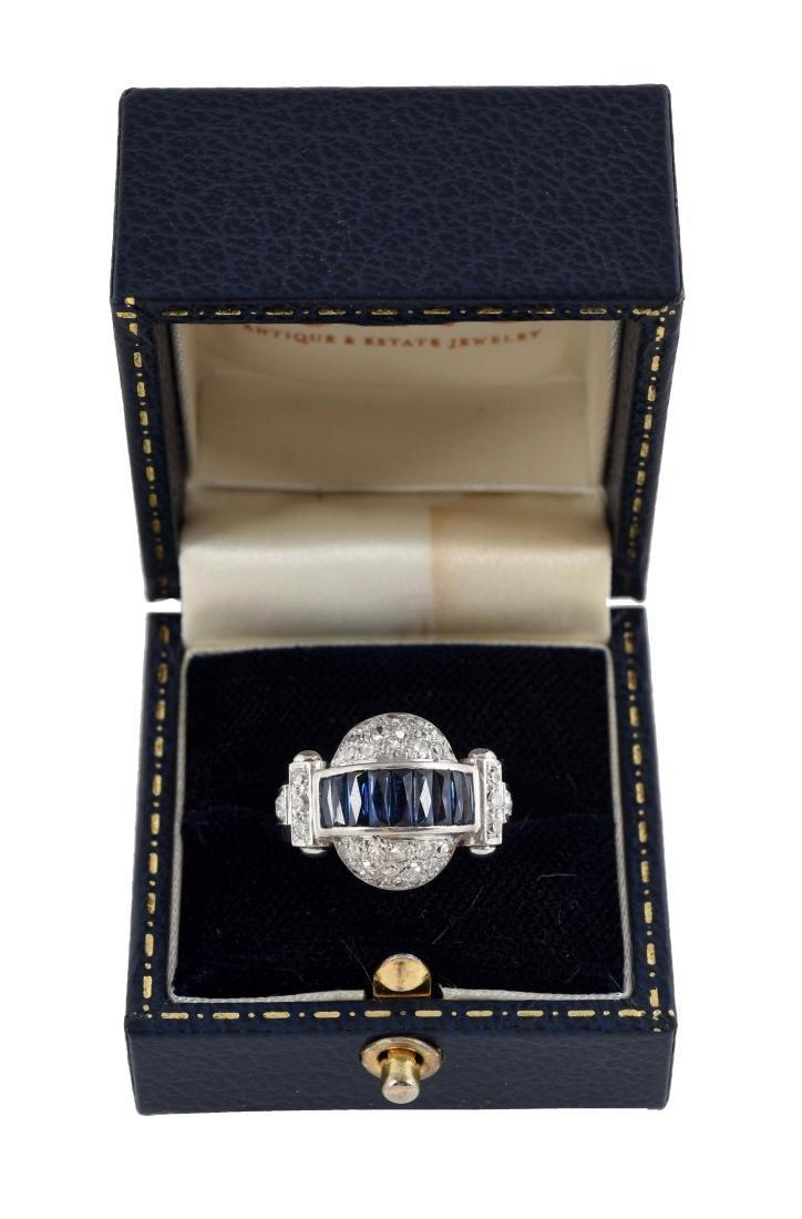 Antique 14K White Gold Dome Shaped Sapphire & Diamond