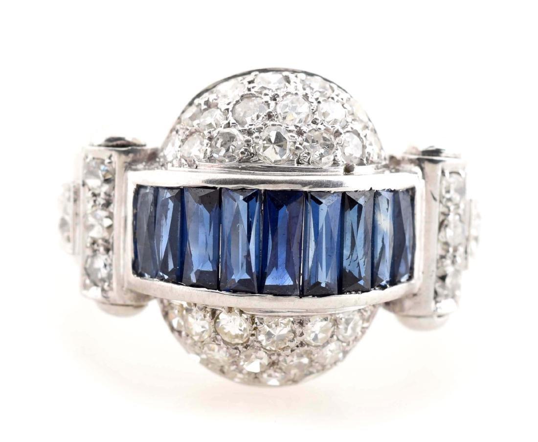 Antique 14K White Gold Dome Shaped Sapphire & Diamond - 2