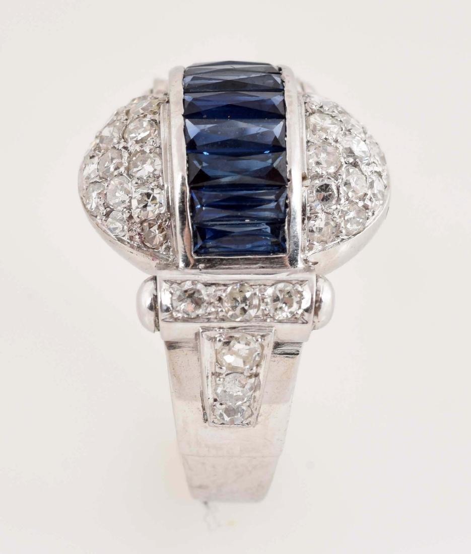 Antique 14K White Gold Dome Shaped Sapphire & Diamond - 3