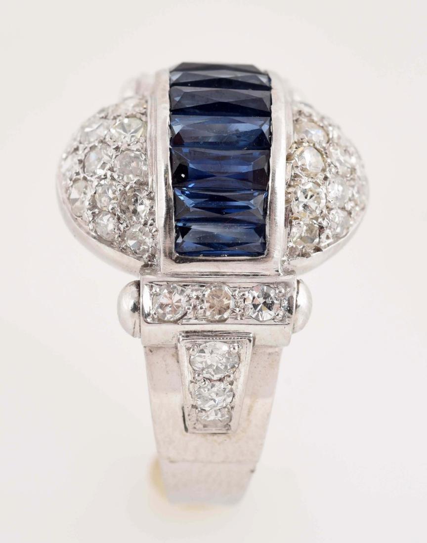 Antique 14K White Gold Dome Shaped Sapphire & Diamond - 4