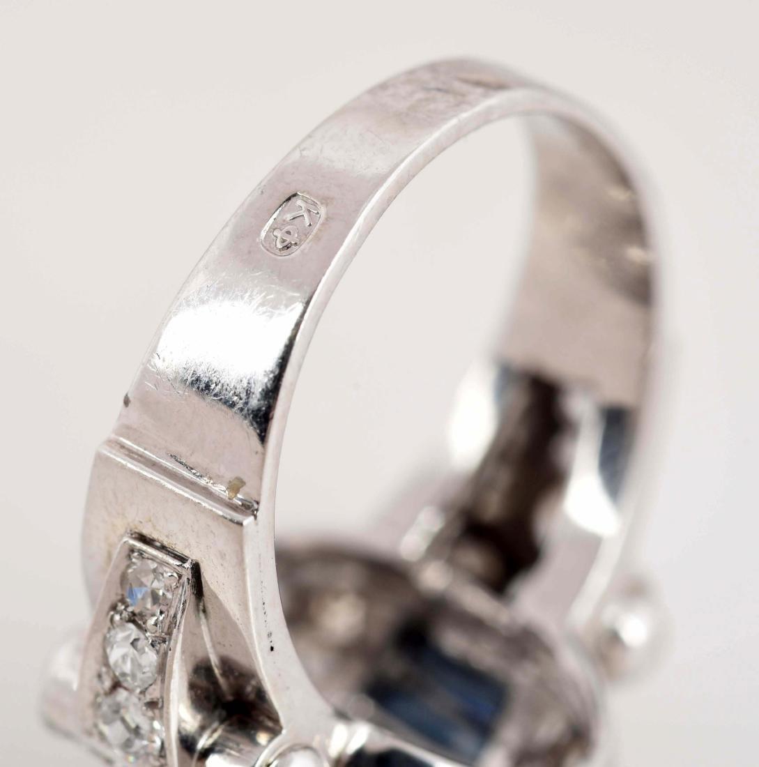 Antique 14K White Gold Dome Shaped Sapphire & Diamond - 5