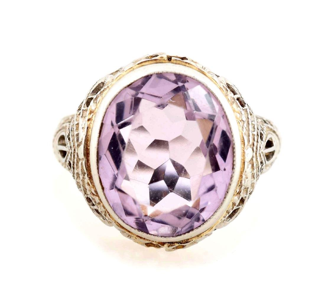 10K White Gold Amethyst Ring.