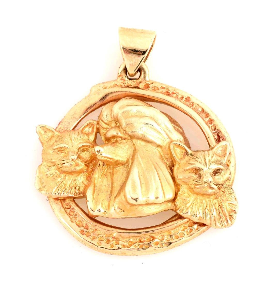 14K Yellow Gold Dog & Cats Pendant.