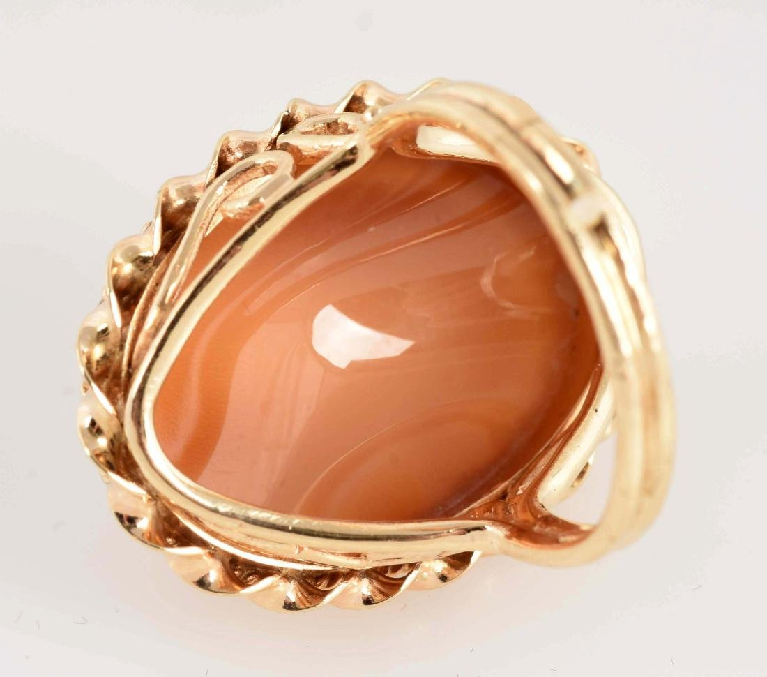 14K Yellow Gold Cameo Ring of Young Girl. - 4