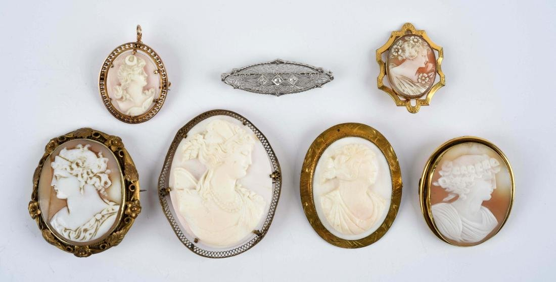 Lot of 7: Antique Cameo & Bar Pins.