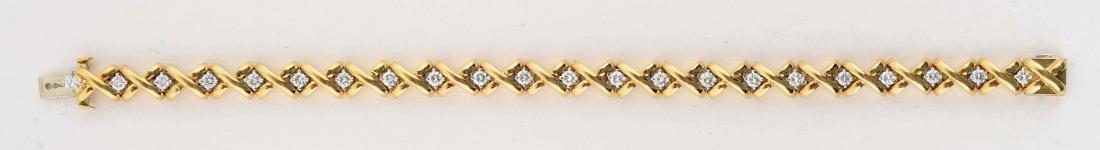 18K Yellow Gold Diamond Bracelet. - 2