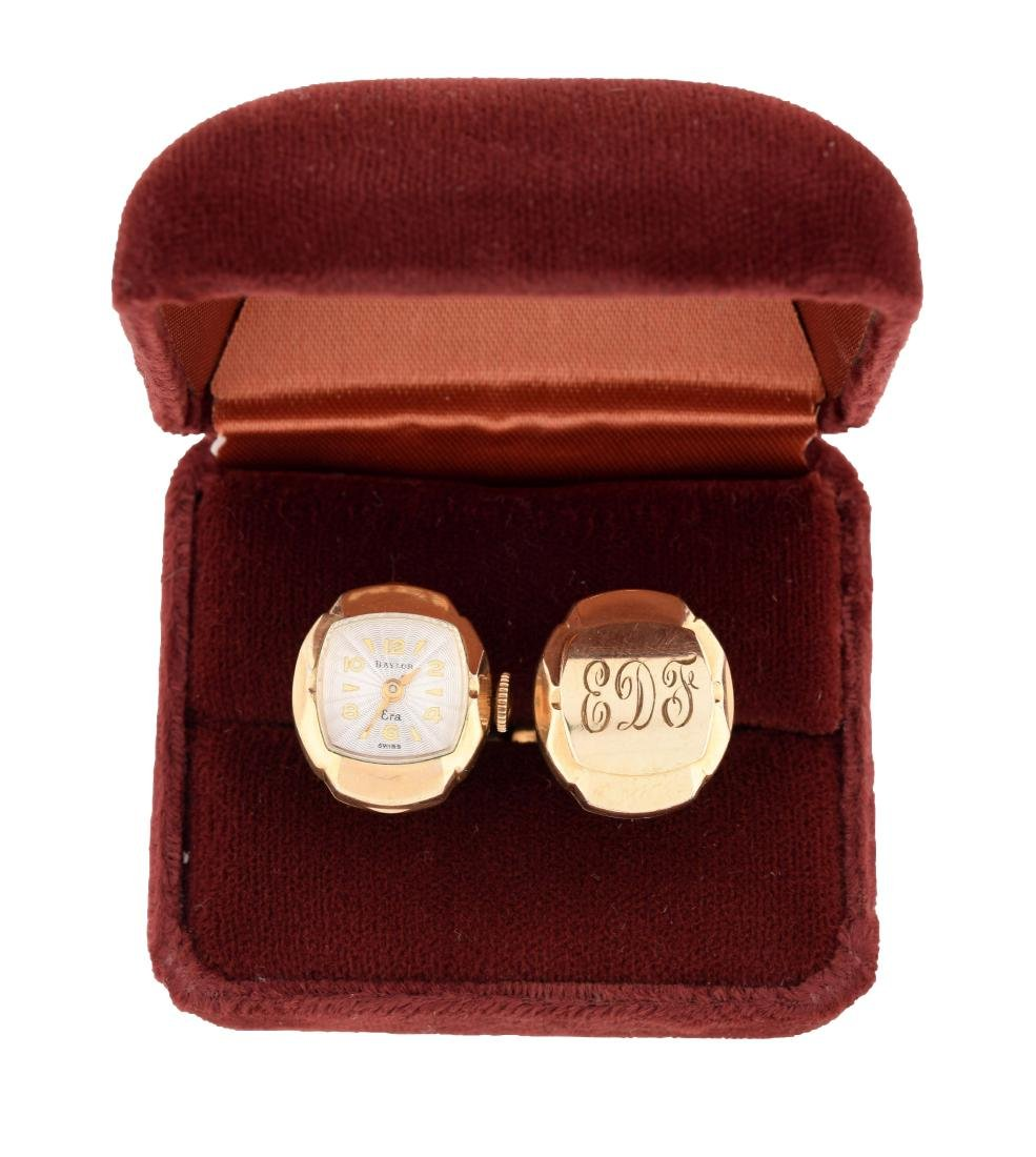 Baylor Era 10K Gold Plated Cuff Link Watch &