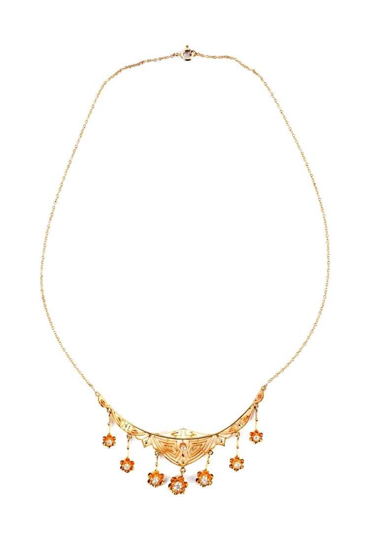 14K Yellow Gold Diamond Necklace.