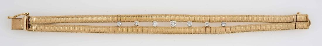14K Gold Bracelet with Seven Small Diamonds. - 5
