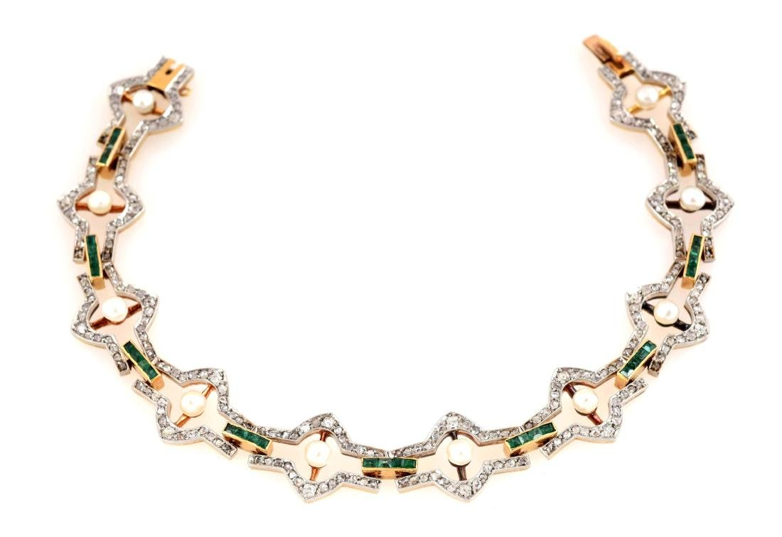 14K Yellow Gold Diamond, Emerald & Pearl Bracelet.