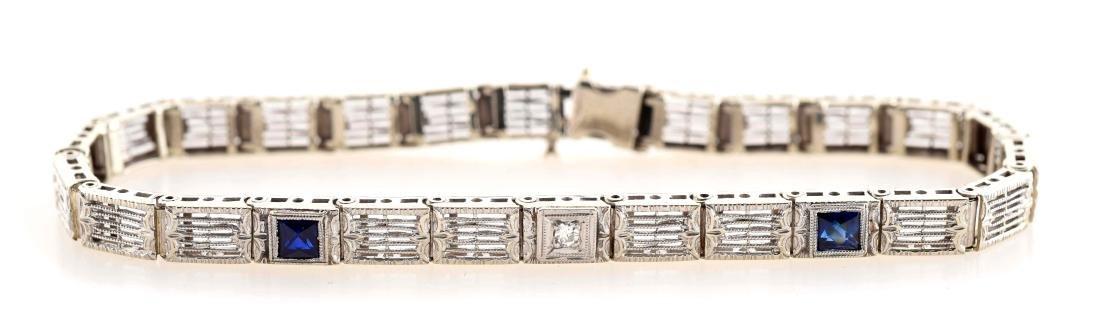 14K White Gold Diamond & Sapphire Bracelet.