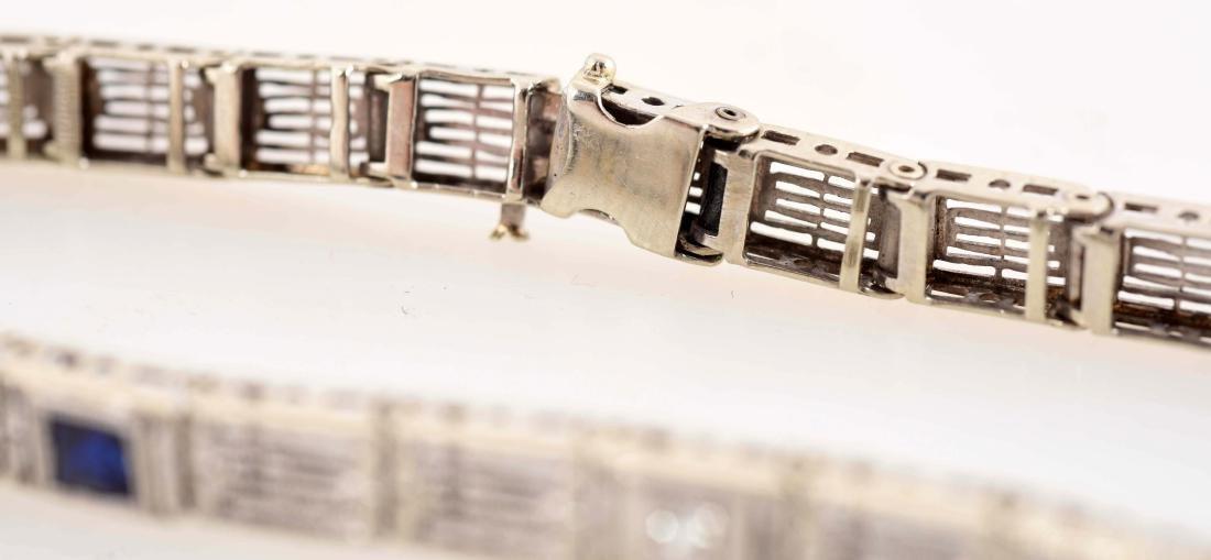 14K White Gold Diamond & Sapphire Bracelet. - 2
