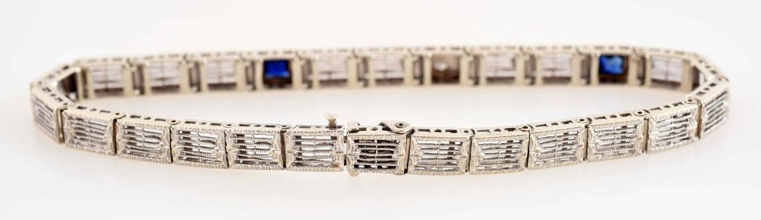 14K White Gold Diamond & Sapphire Bracelet. - 3