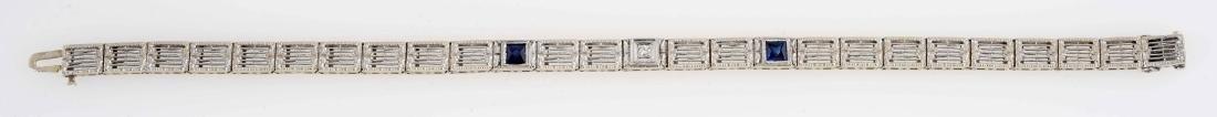 14K White Gold Diamond & Sapphire Bracelet. - 4