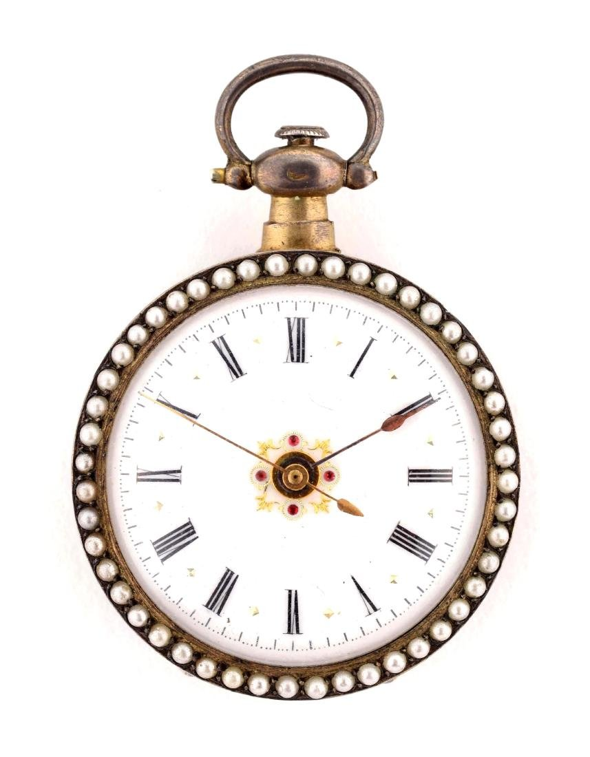 Enamel Ladies Pocket Watch with Seed Pearls and