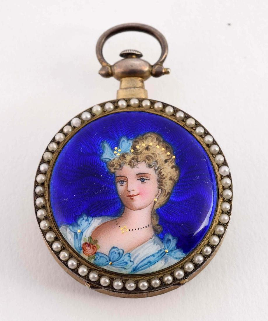 Enamel Ladies Pocket Watch with Seed Pearls and - 2