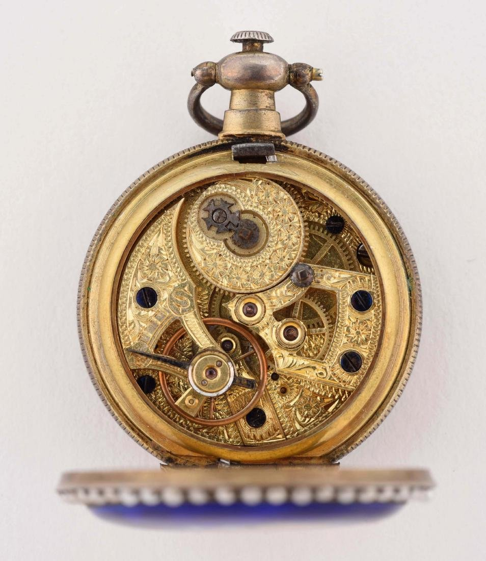 Enamel Ladies Pocket Watch with Seed Pearls and - 3