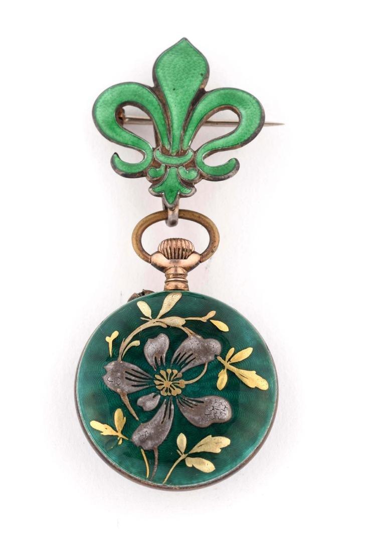 Small Green Enamel Pocket Watch.