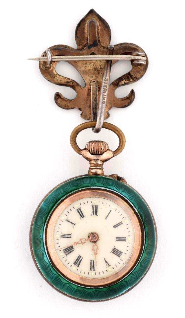 Small Green Enamel Pocket Watch. - 2