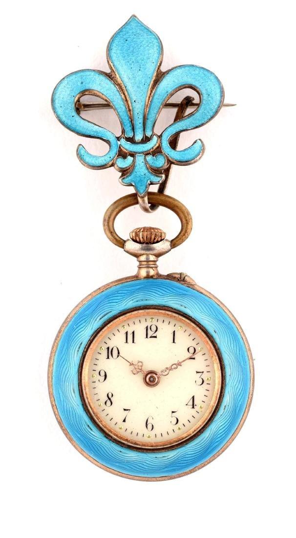 Small Blue Enamel Pocket Watch.