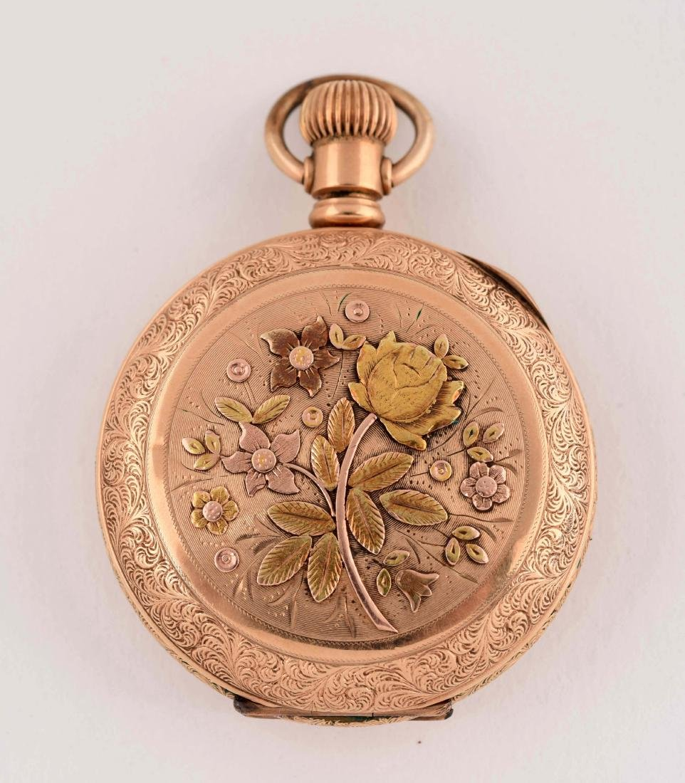 Elgin Gold Filled Pocket Watch with Gold Overlay - 4