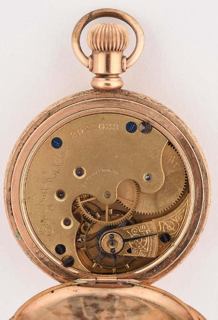 Elgin Gold Filled Pocket Watch with Gold Overlay - 5