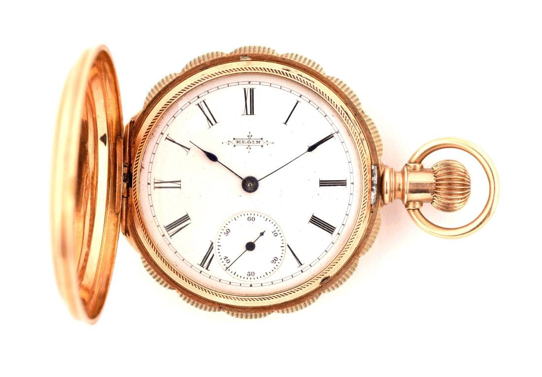 Elgin 14K Gold Hunting Case Pocket Watch.