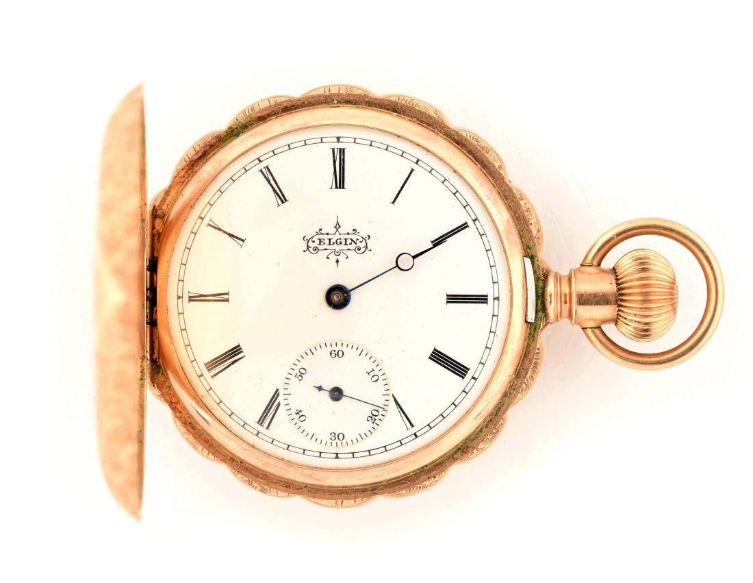 Elgin 14K Gold H/C Pocket Watch Circa 1893.