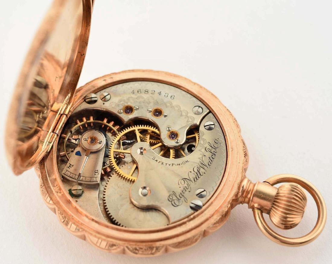 Elgin 14K Gold H/C Pocket Watch Circa 1893. - 5