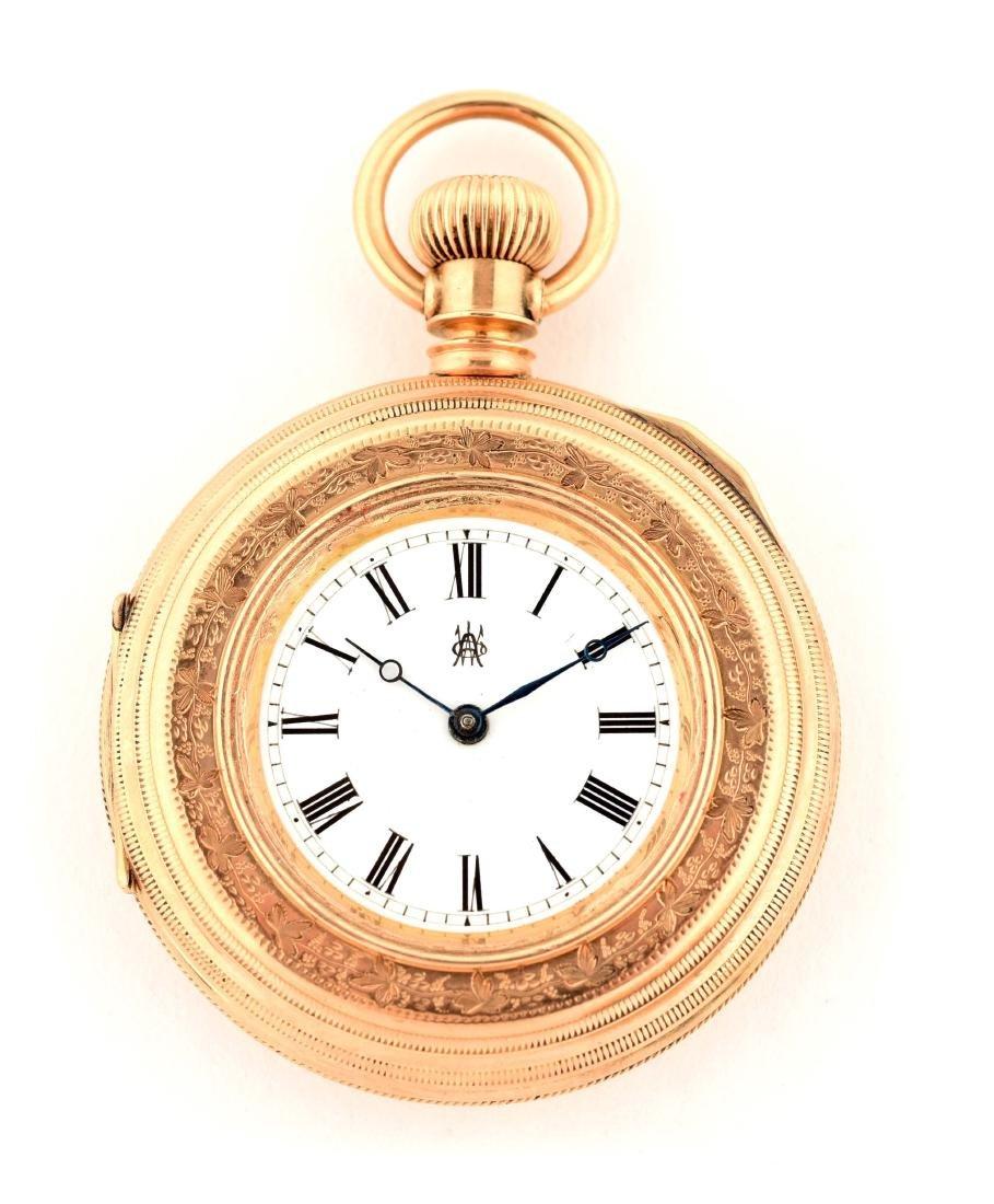 Waltham 14K Gold Open Face Pocket Watch.