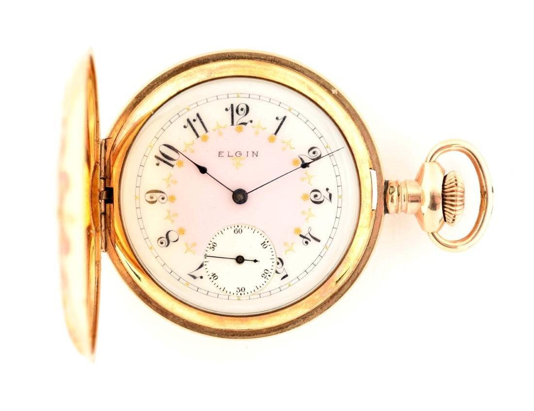 Fancy Elgin Gold Filled Hunting Case Pocket Watch.