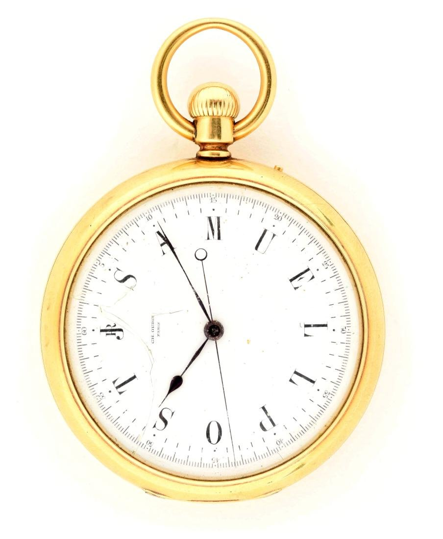 Ch Oudin Paris 18K Gold Open Face Pocket Watch.