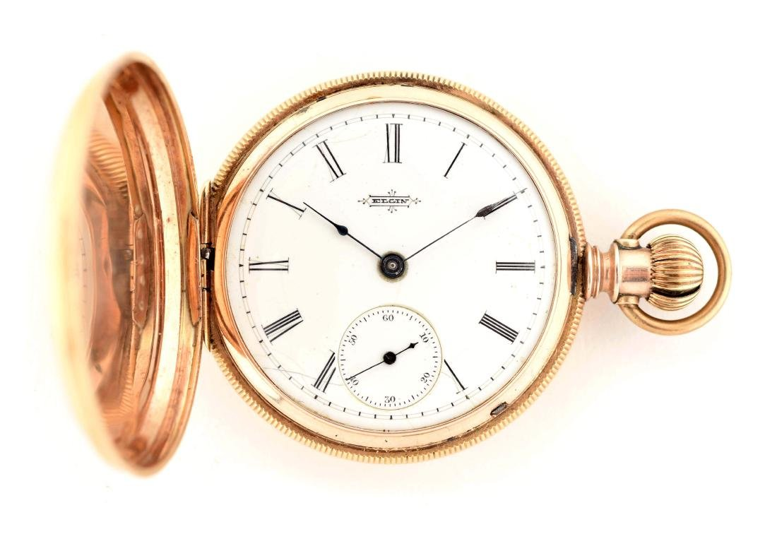 Elgin Pocket Double Stock Solid Gold H/C Pocket Watch