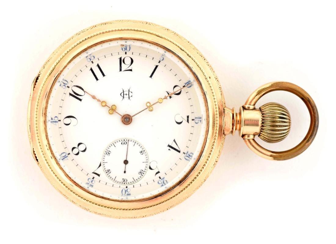 C.H. Geneva Swiss 14K Gold O/F Pocket Watch.