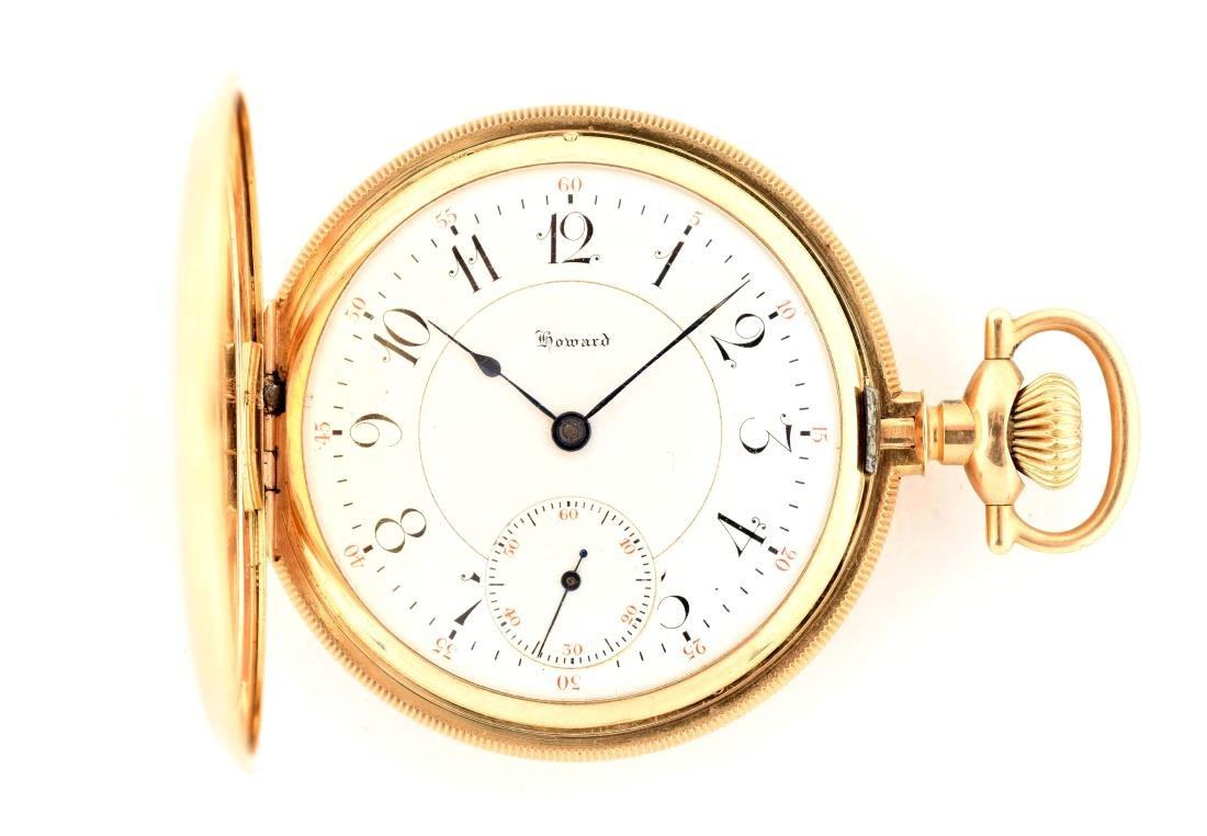 E. Howard 14K Gold H/C Pocket Watch 23j Size 16.