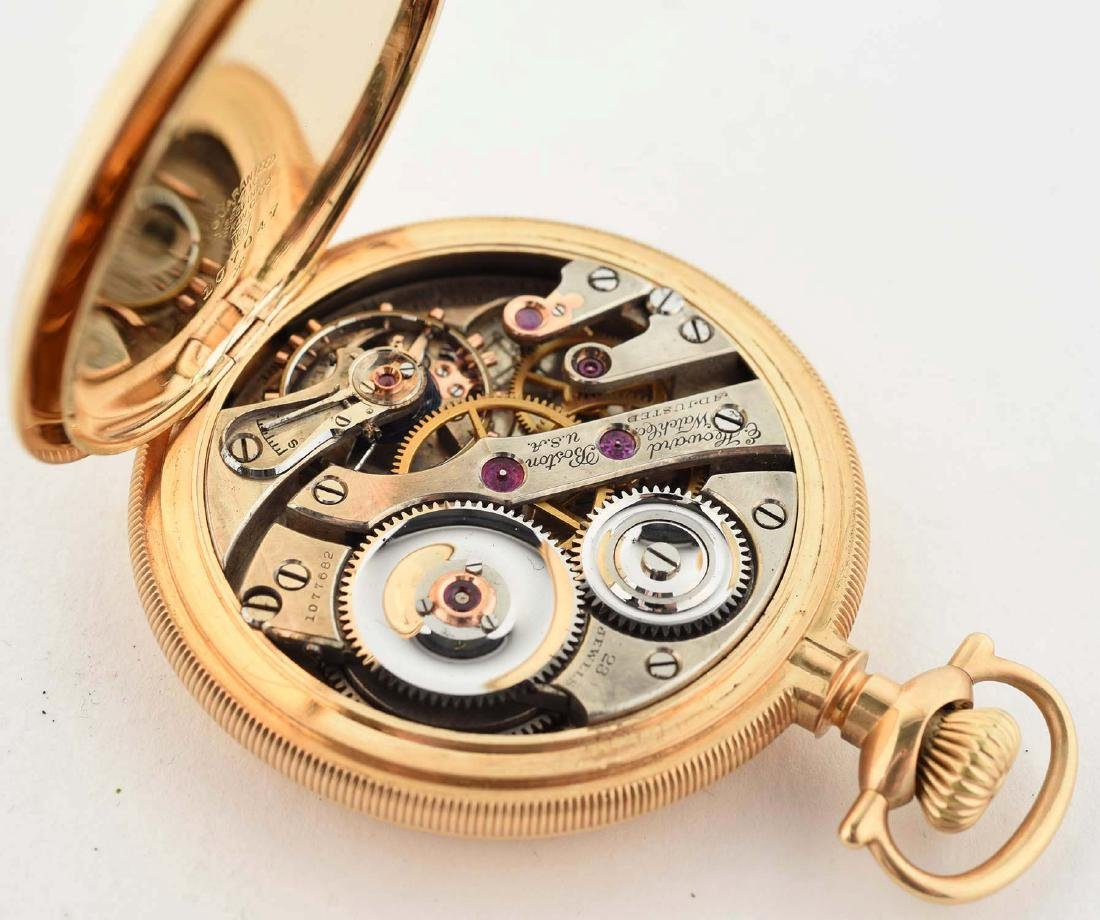 E. Howard 14K Gold H/C Pocket Watch 23j Size 16. - 6