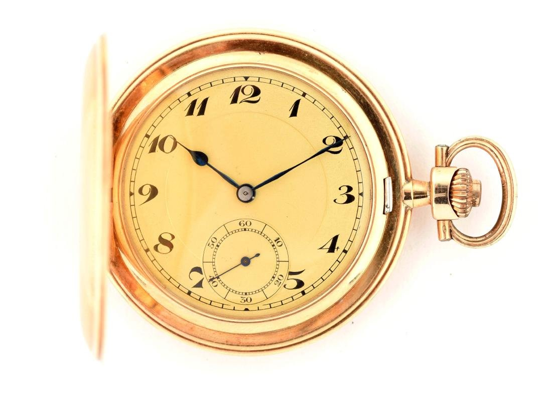 Teutonia German 14K Gold H/C Pocket Watch.