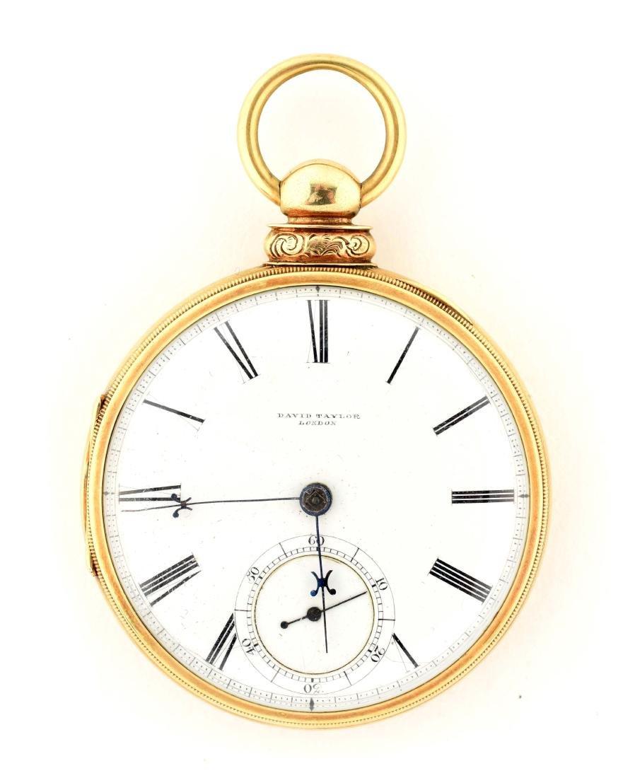 David Taylor, London Gold O/F Fusee Pocket Watch.
