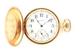 Waltham 14K Gold H/C Pocket Watch 15j Size 12.