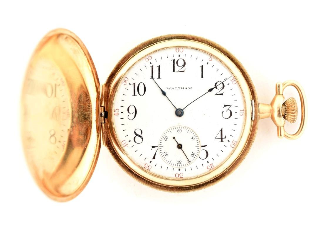 Waltham 14K Gold H/C Pocket Watch 15j Size 12.